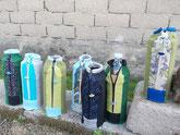 Flaschenhüllen in Grün-Blau-Türkis