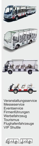 QS Elektrobummelzug, Messeservice, Firmenführungen, Eventservice, Tourismusfahrzeuge, Shuttle BUS