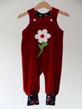 Lumpenprinzessin - Strampelhose Nicky rot mit Blume