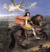 Louis XIV (1638-1715) vêtu à la romaine, couronné par la Victoire devant une vue de la ville de Maestricht en 1673, d'après Pierre Mignard, XVIIe siècle