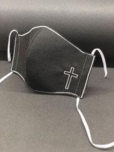 Mund Nasen Maske schwarz Kreuz