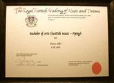 Diplom des königlichen Konservatoriums, Glasgow