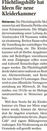 Gifhorner Rundschau vom 8.9.2018