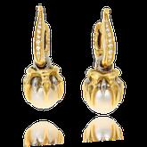 Ohrring in Gelbgold mit Perlen und Brillanten aus der Gremlin Kollektion der Goldschmiede OBSESSION Zürich und Wetzikon