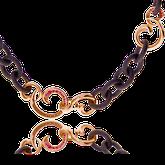 Collier in Keramik und Rotgold mit pinken Saphiren aus der Gipsy Kollektion der Goldschmiede OBSESSION Zürich und Wetzikon