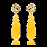 Ohrclips in Gelbgold mit Bernstein und Brillanten aus der Gipsy Kollektion der Goldschmiede OBSESSION Zürich und Wetzikon
