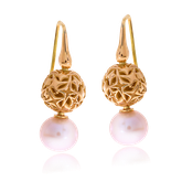 Ohrhänger in Rotgold mit Perlen aus der Milchstrasse Exchangeables Kollektion der Goldschmiede OBSESSION Zürich und Wetzikon