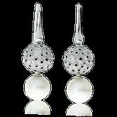 Ohrhänger in Weissgold mit Brillanten und Perlen aus der Mouse on Mars Exchangeables Kollektion der Goldschmiede OBSESSION Zürich und Wetzikon