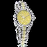 Uhr in Weiss- und Gelbgold mit weissen und gelben Brillanten, speziell angefertigt von der Goldschmiede OBSESSION Zürich und Wetzikon