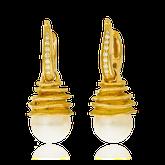 Kreolen mit Einhänger aus Gelbgold mit Perlen und Brillanten aus der Himalaja Kollektion der Goldschmiede OBSESSION Zürich und Wetzikon
