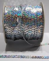Paljettinauha joustamaton 6mm holo hopea