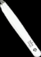 пинцет линейки TopInox , изогнутые края, белый лак