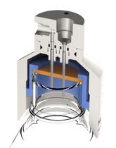 Liquid sampling - Piston valve liquid bottle sampler - Piston valve liquid sampler with bottle cap septa - Liquid Sampler configuration - Mechatest Piston valve Bottle Sampler MBS