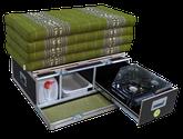 "iQ-Campingbox ""Mini"" mit faltbaren Windschutz, Kocher, 10 Liter Wasserkanister, Wasserauffangschale, Auslaufhahn und 85cm Kapok Matratze"