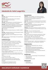 Vita Dr. Fotini Lange M.Sc., Zahnärztin in Rosenheim