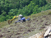 Retroaraña realizando hoyos para plantación forestal