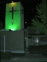 八事教会旧会堂 十字架ライトアップ