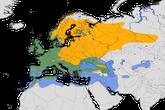 Karte zur Verbreitung des Rotkehlchens weltweit