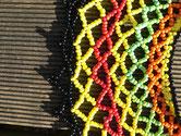 African Collar, Perlenkragen aus  Roccailles in verschiedenen Farben im afrikanischen Stil (Zulu), Toggleverschluss,