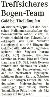 Artikel - Deutsche Hallenmeisterschaft in Grafenrheinfeld 2006 - BSV Merkwitz