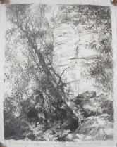 """""""In Erinnerung I - Widerstand gegen den Nationalsozialismus - Elbsandsteingebirge"""", 22 x 17,5 cm, Bleistift auf Papier, 2020"""