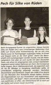 Cronenberger Woche Bericht vom 22.08.2003
