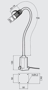 Technische Zeichnung Flex Vario Flexarmleuchte