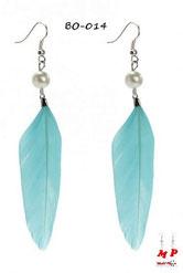 Boucles d'oreilles plumes bleues ciel et perles