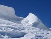 Vue sur les glaciers manqués à l'ascension