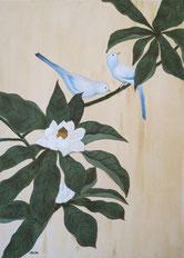 """""""Birds on magnolia tree"""" 70 x 50 cm"""