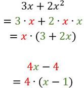 Beispiele für das Ausklammern von Zahlen.