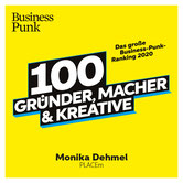 100 Gründer, Macher, Kreative. Logo Schrift auf gelben Grund
