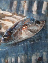 petite peinture de sardines sur toile