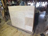 本体の木地出しと新しく作り替えた前板の仕込みも終え木地出し完成です。