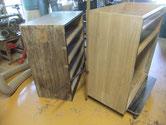 黒檀タンス本体の下左右箪笥の側板削り、削る前と削った後の状態です。