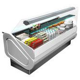 Vitrine réfrigérée multi service avec réserve refrigérée vitrage droit