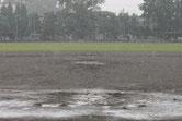 激しい雨で一旦中止
