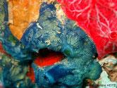 éponge, bleue, veinée