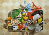 Aquarell mit Blechspielzeugen in einer Blechdose
