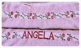 Handtuch bedruckt mit Rosen und personalisiert (Danke Bea!)