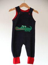 Lumpenprinzessin Strampelhose Nicky blau/dunkelblau mit Krokodil