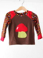 Lumpenprinzessin Pilze T-Shirt Langarmshirt Genähtes Kindershirt Retro braune Pilze Handarbeit Nähen