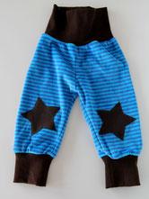 Lumpenprinzessin Babyhose Nicky Streifen/Sterne blau