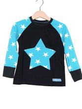 Lumpenprinzessin Langarmshirt mit Vincente Sterne türkis dunkelblau - Genähtes Kindershirt Handarbeit Nähen