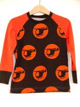Lumpenprinzessin Langarmshirt mit Vincente Hubschrauber/Helicopter orange-braun - Genähtes Kindershirt aus Biostoff im Retrodesign Handarbeit Nähen