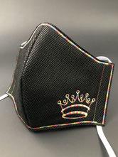 Alltagsmaske schwarz Krone