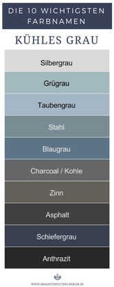 Kühle Grautöne sind Silbergrau, Graugrün, Taubengrau, Stahl, Blaugrau, Charcoal, Kohle, Zinn, Anthrazit, Asphalt, Schiefergrau