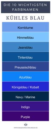 10 kühle Blautöne sind Kornblume, Himmelblau, Jeansblau, Tintenblau, Preussischblau, Azurblau, Königsblau, Kobalt, Navy, Marine, Indigo, Purple