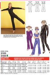 Kaava Kwik Sew 3103 3104 taitoluistelu voimistelu tanssi