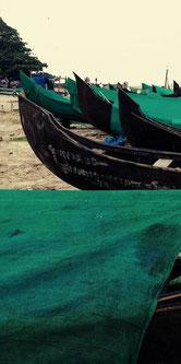 Fishing boats line the beach in photogenic Kochi, Kerala, India. Dante Harker